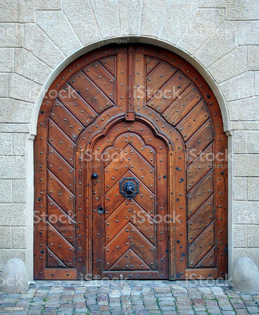 Magic woden doorway stock photo