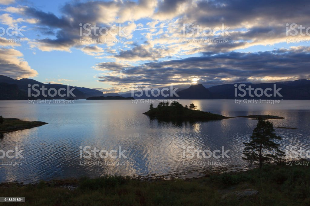 Magical afternoon mood at the Hardanger Fjord stock photo
