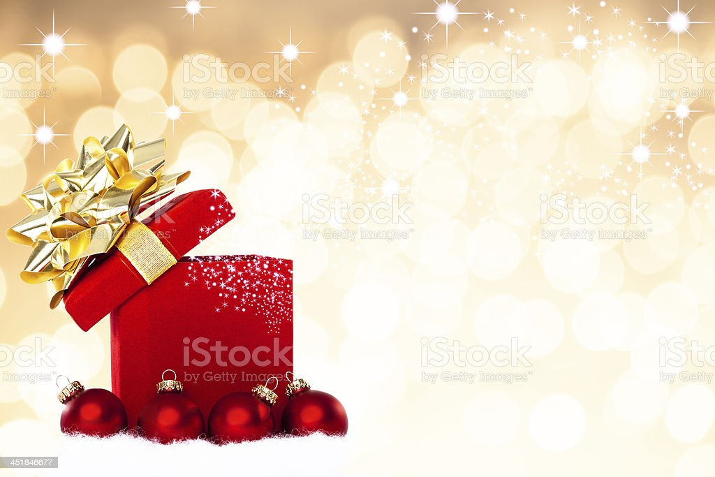 Magical Christmas Gift Background stock photo