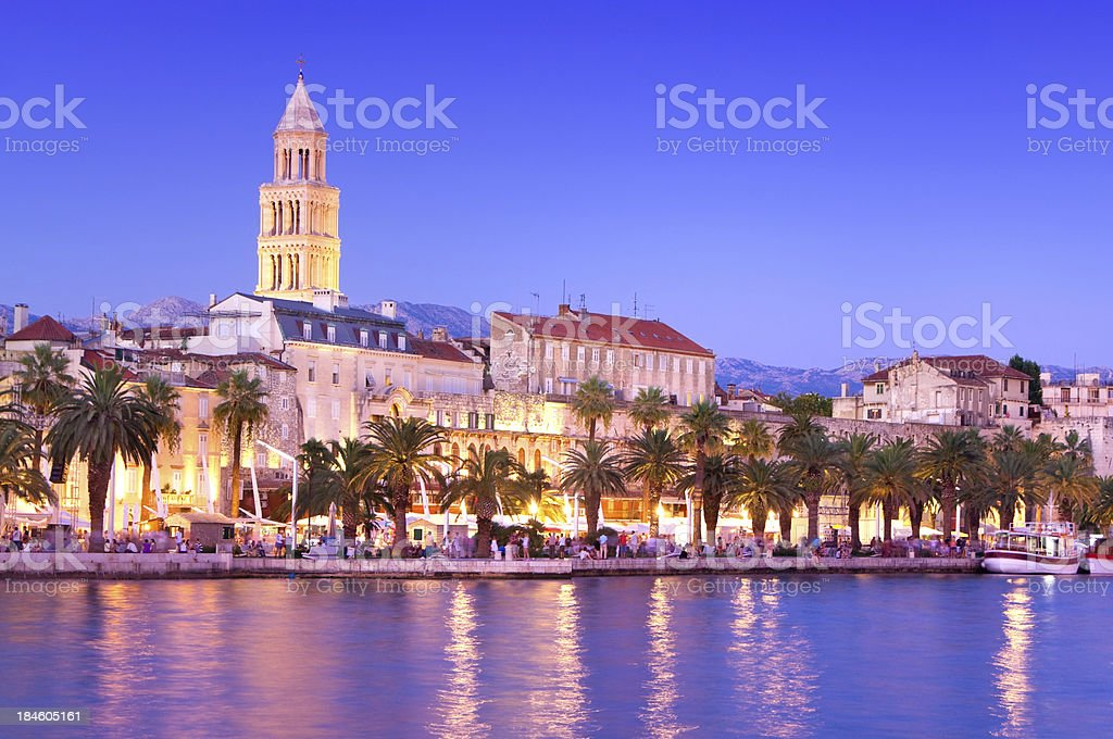 Magical Cityscape of old town Split, Croatia at Dusk stock photo