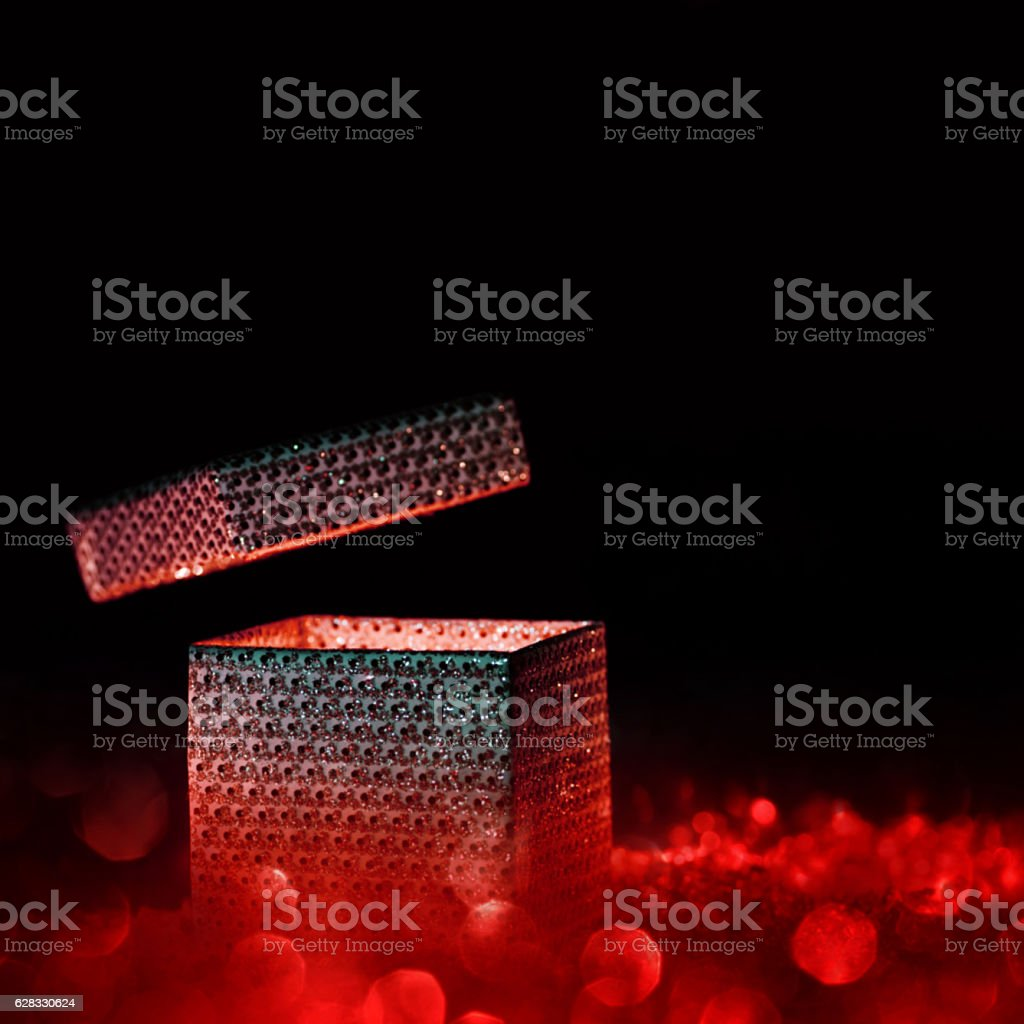 Magical gift box in red stock photo