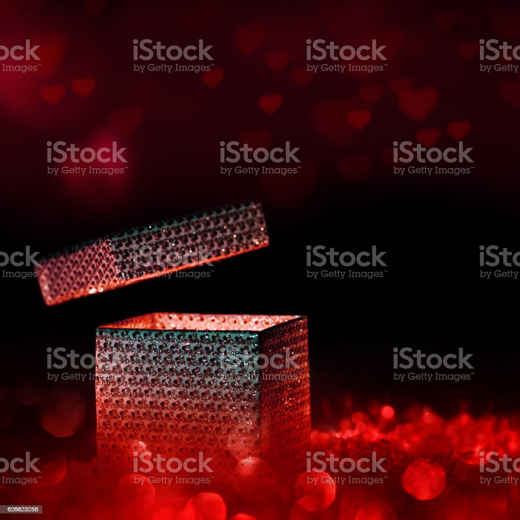 Magical gift for valentines day stock photo