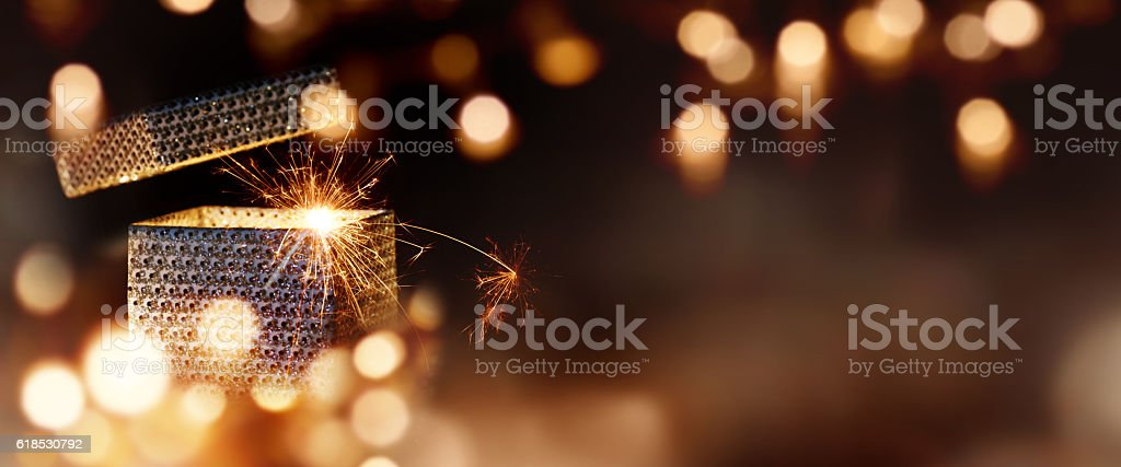 Magical gift parcel stock photo