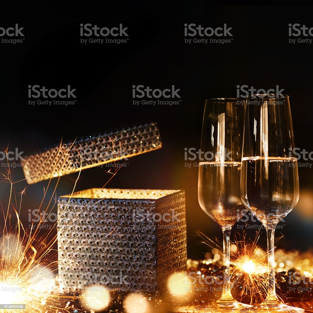 Magical gift with champagne stock photo