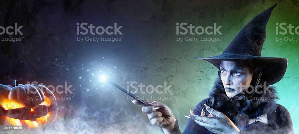 Magical Halloween - Incantation Of Witch stock photo