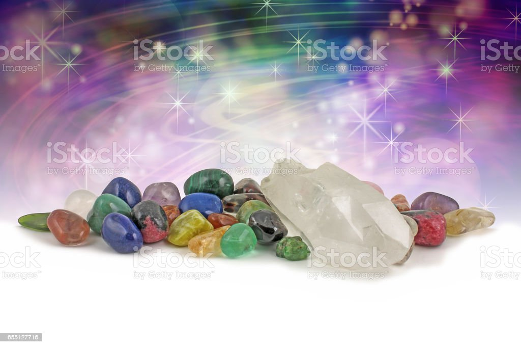 Magical healing crystals background stock photo