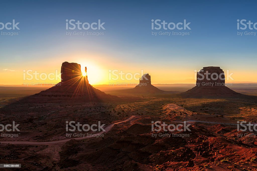 Magical landscape Monument Valley at Sunrise in Arizona stock photo