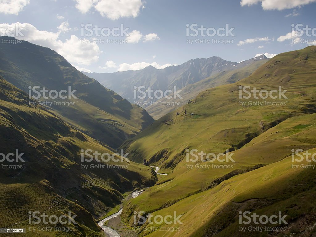 Magical mountain valley in Tusheti stock photo