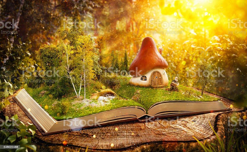 Magical mushroom house stock photo