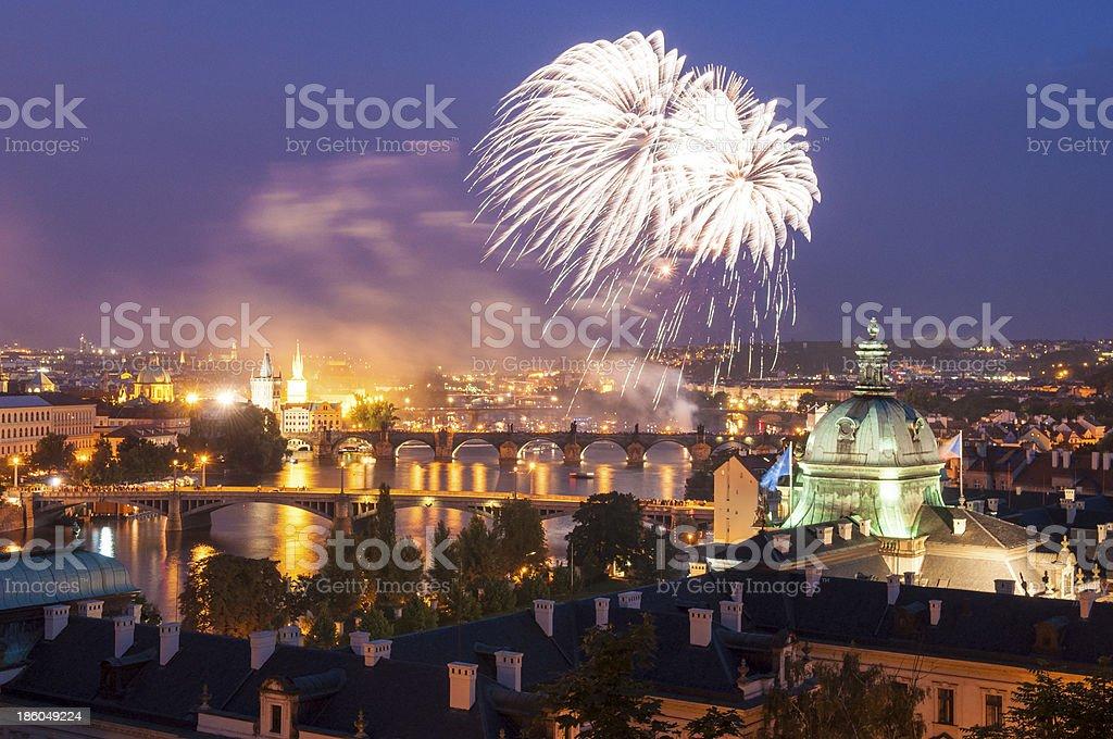 Magical night illuminations of Prague royalty-free stock photo