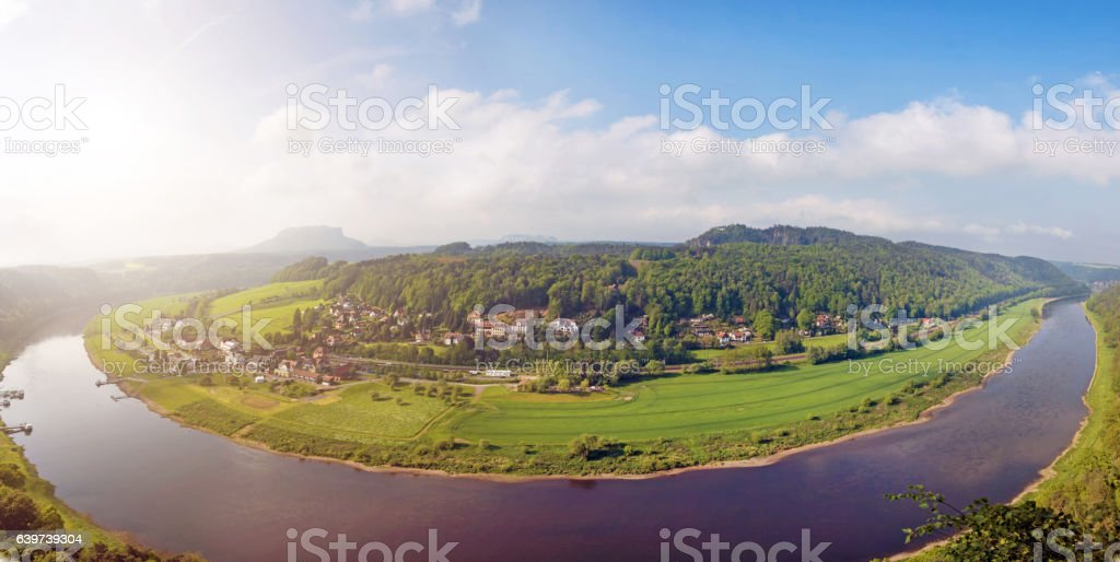 magical panorama landscape with river Elbe arc near Rathen, Ge stock photo
