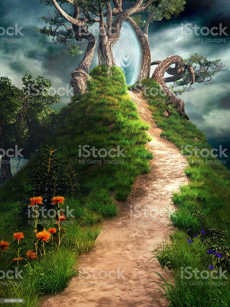 Magical portal on the hill stock photo