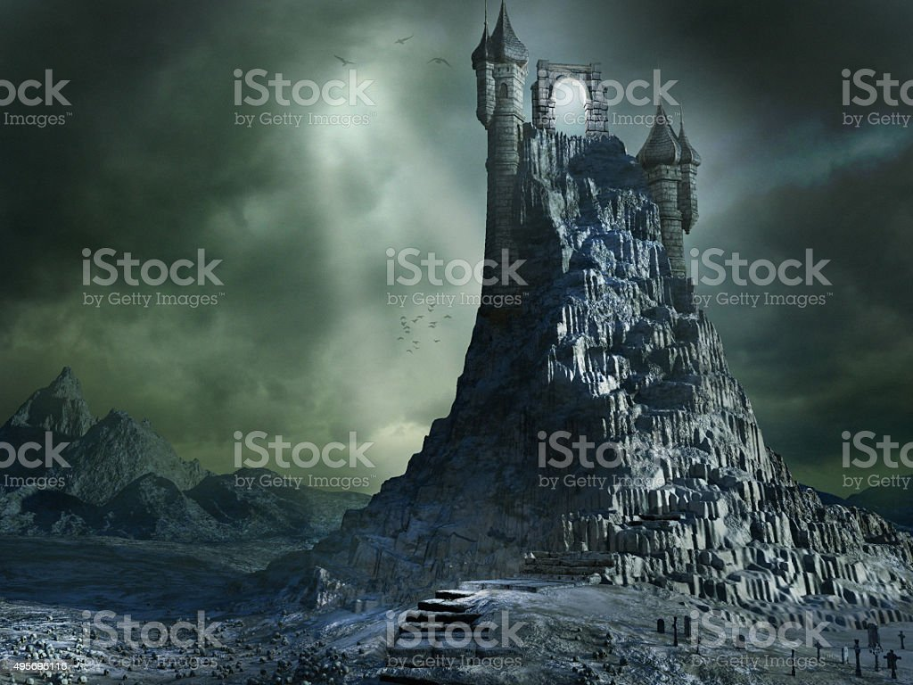 Magical portal on the top of high mountain stock photo