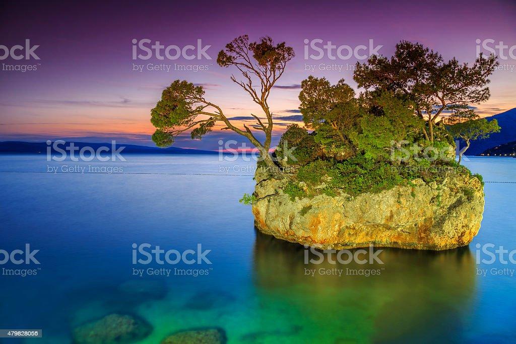 Magical rock island at sunset,Brela,Makarska riviera,Dalmatia,Croatia stock photo