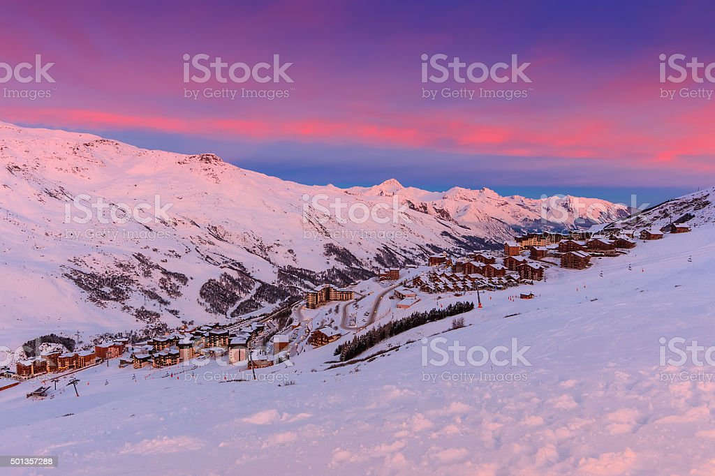 Magical sunrise and ski resort in the French Alps,Europe stock photo