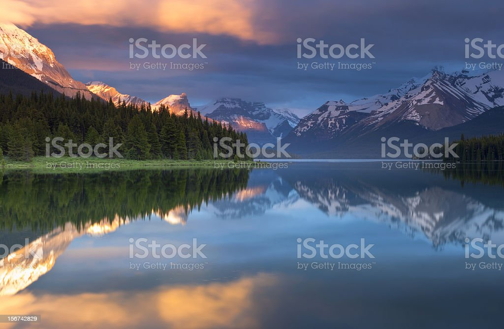 Magical Sunset at Maligne Lake royalty-free stock photo
