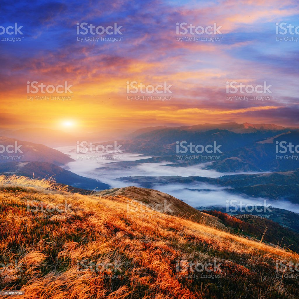 Magical sunset in the mountains Ukraine stock photo