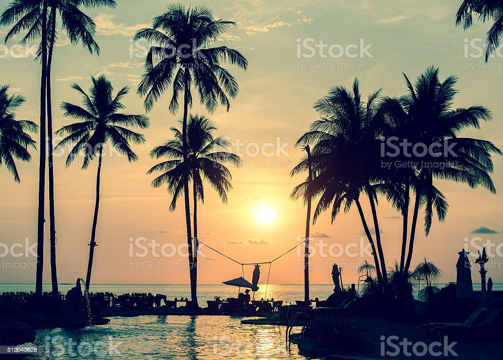 Magical sunset on the tropical coast in South-East Asia. stock photo