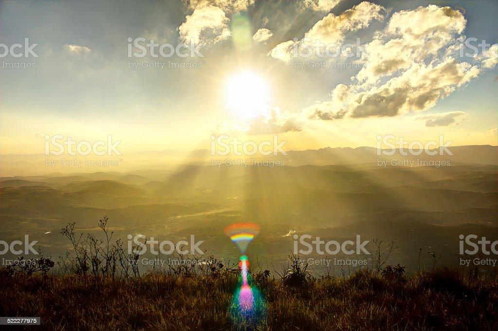 Magical  Sunset Over Misty Mountain Range stock photo