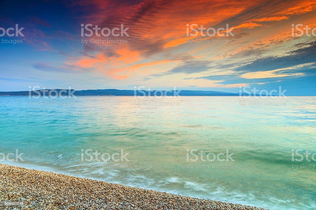 Magical sunset over the sea,near Makarska,Dalmatia,Croatia stock photo