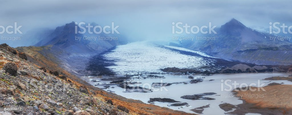 magical winter snow. Spring landscape. Sunset in the Carpathians stock photo