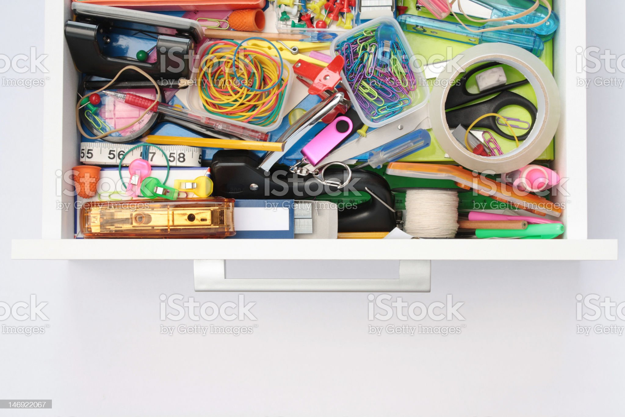 Magical World of the Stationery Drawer royalty-free stock photo