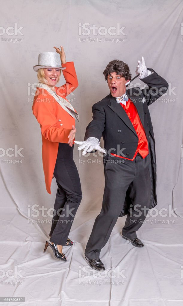 Magician and assistant stock photo