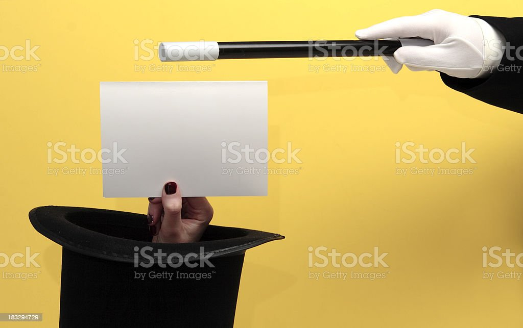 Magician Conjures Blank Note Card stock photo