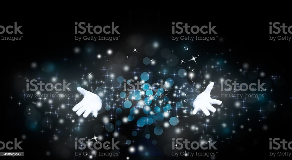 magician hands with magic stock photo