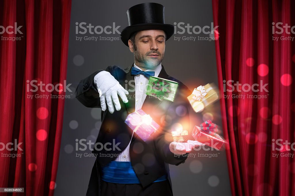 Magician have magic in his hands stock photo