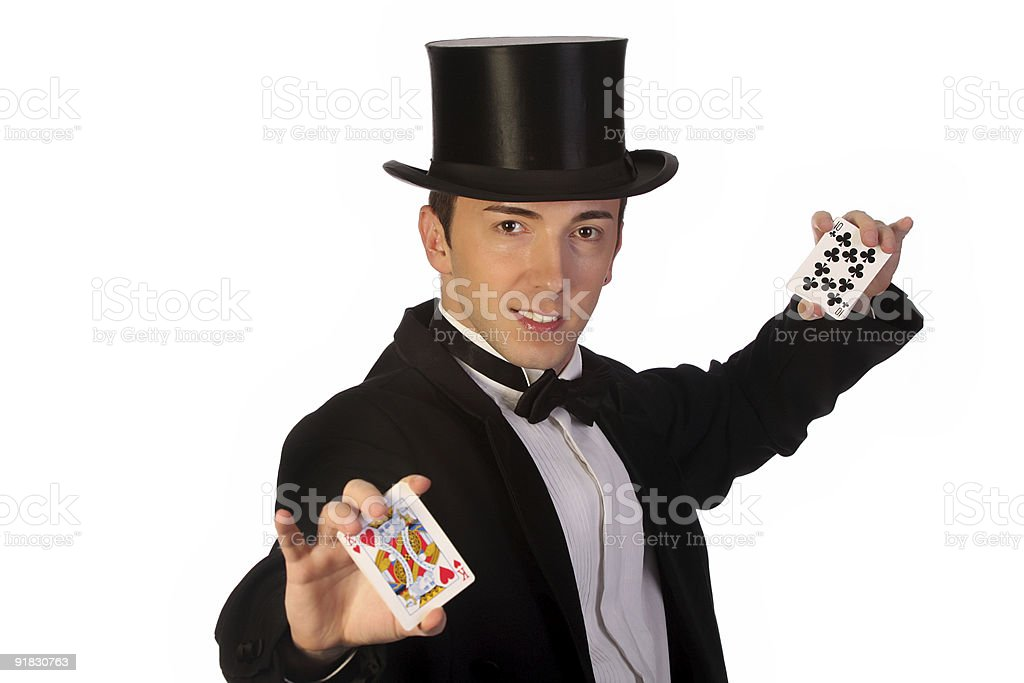 magician performing with cards royalty-free stock photo