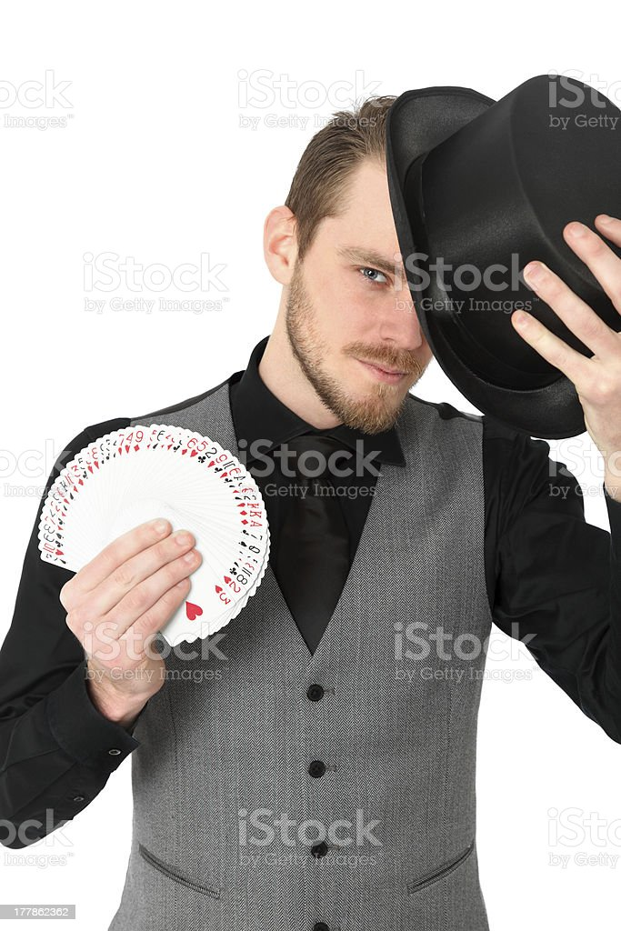 Magician with cards royalty-free stock photo