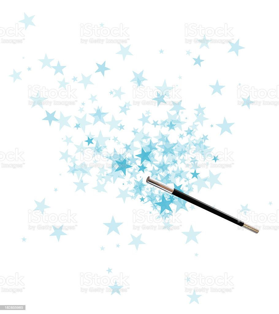 Magician's wand over a background of blue stars stock photo
