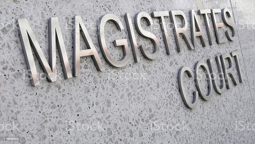 Magistrates Court sign in stainless steel royalty-free stock photo