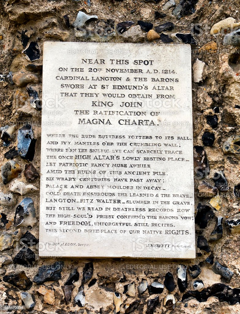 Magna Carta plaque in Bury St Edmunds Abbey ruins stock photo