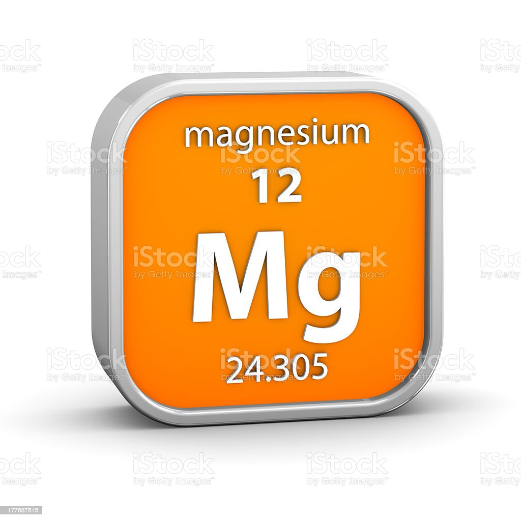 Magnesium material sign stock photo