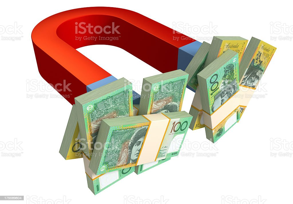 Magnet and Australian Dollars royalty-free stock photo