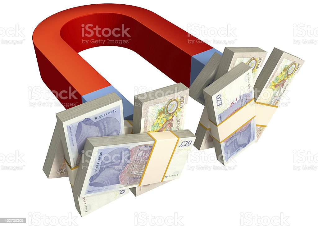 Magnet and British Pounds stock photo