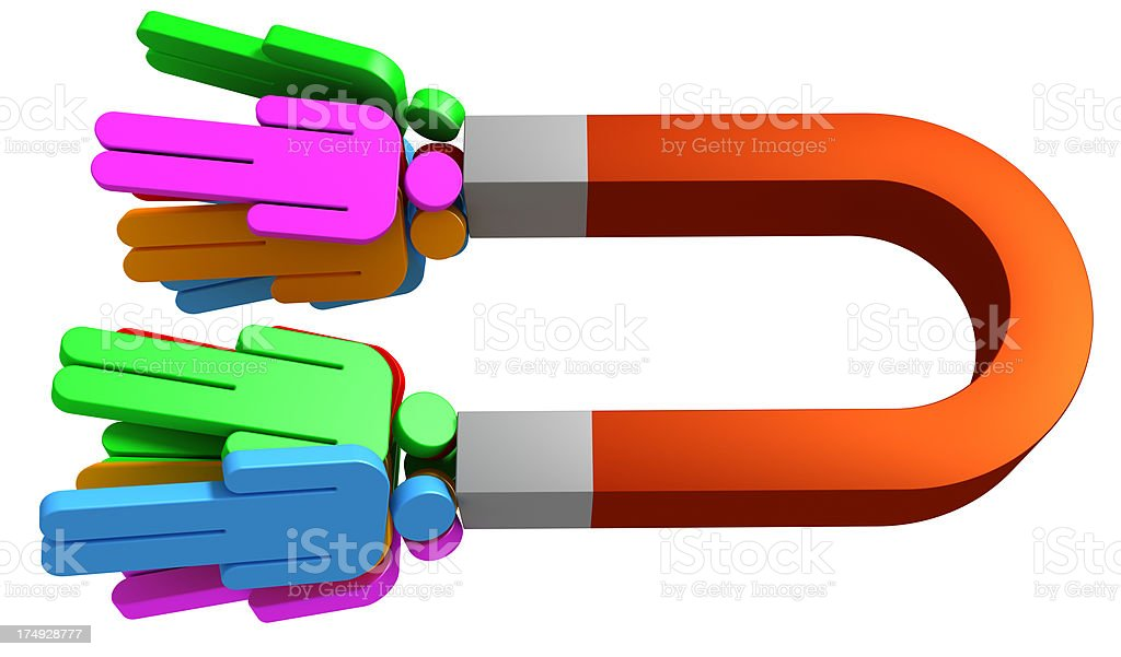 Magnet and colorful people. royalty-free stock photo