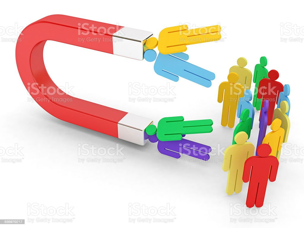 Magnet and colorful people with clipping path stock photo