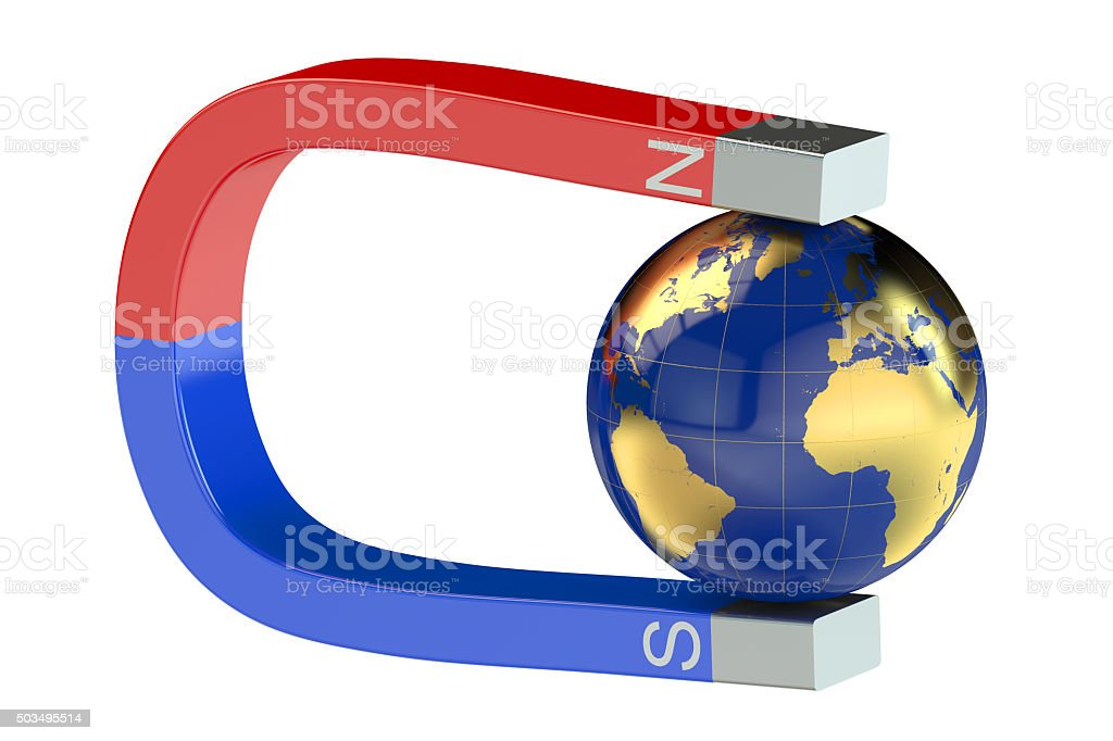 Magnet and earth stock photo