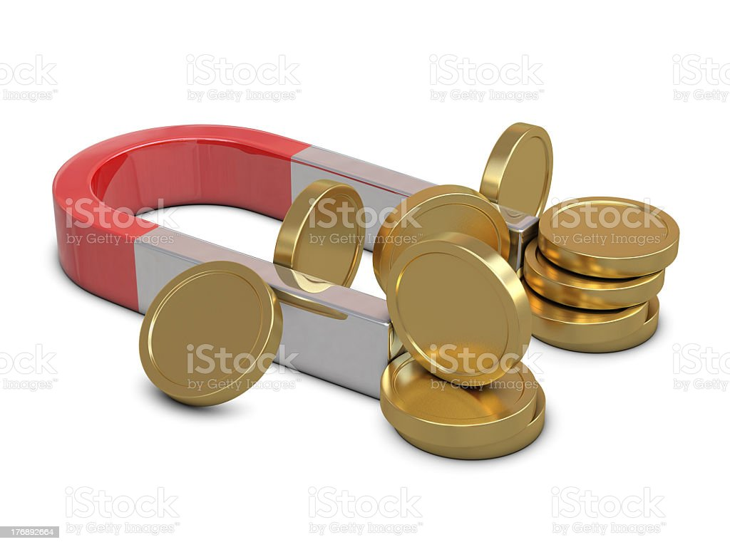 Magnet and golden coins isolated royalty-free stock photo