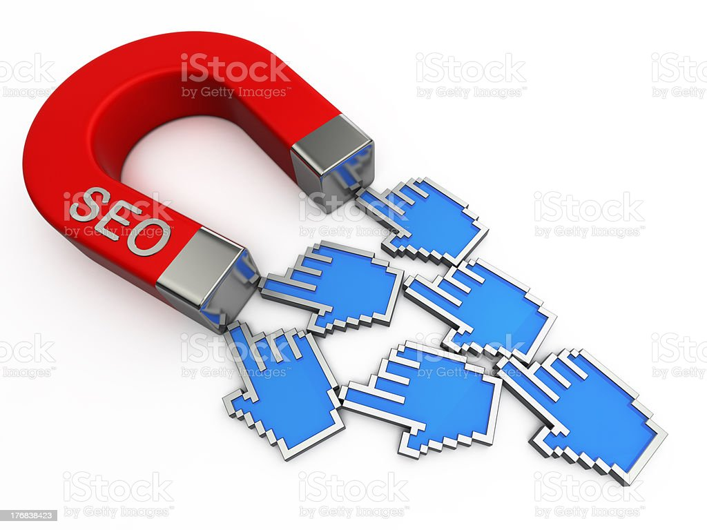 SEO magnet attracts cursors royalty-free stock photo