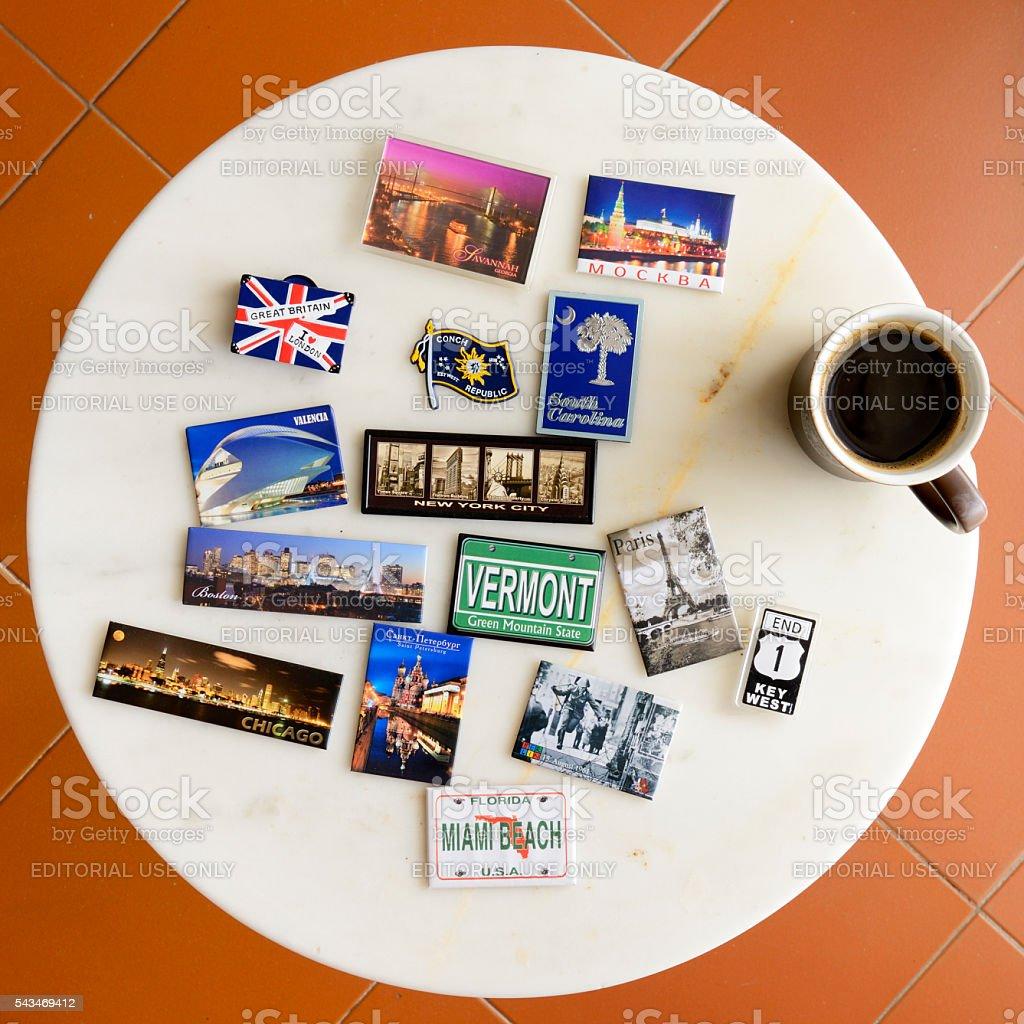 Magnet souvenir on table stock photo