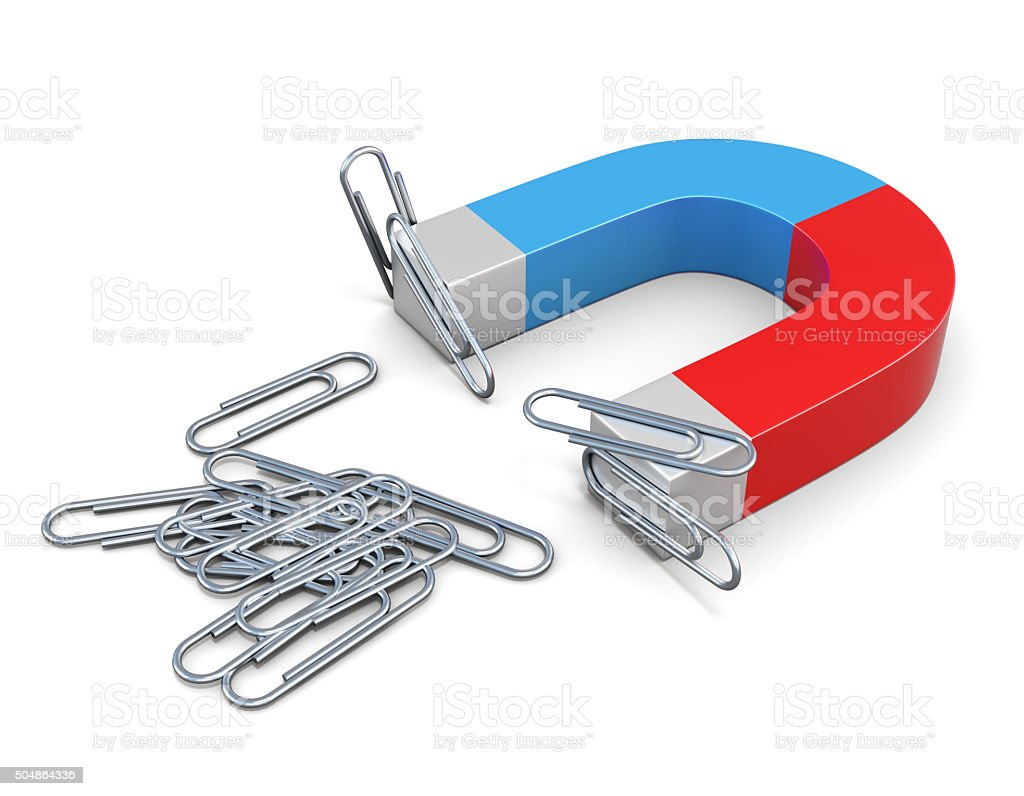 Magnet with magnetized clips. 3d. stock photo