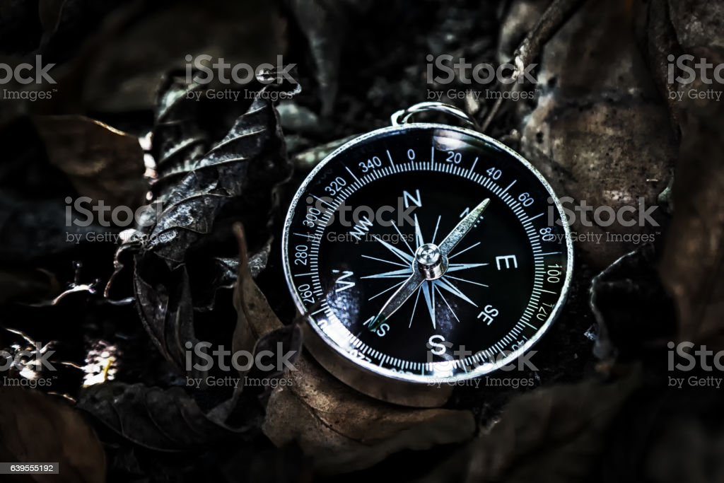 Magnetic compass lying on the ground, covered with dry leaves. stock photo