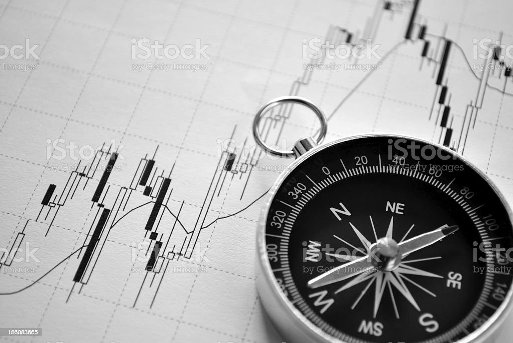 Magnetic compass on a graph royalty-free stock photo