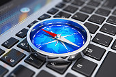Magnetic compass on laptop keyboard