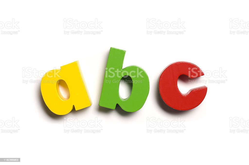Magnetic letters, A B C, close-up stock photo