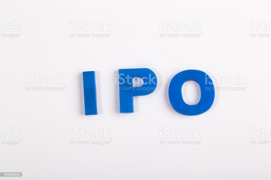 IPO magnetic letters show on white board stock photo